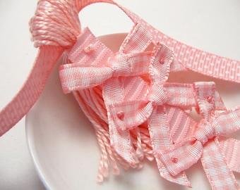 Pink Gingham Bows on Pink Baby Shower Spring Easter Decoration Favor Embellishment Tassel