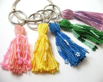 Pastel Rainbow Beaded Tassel Keychain Set