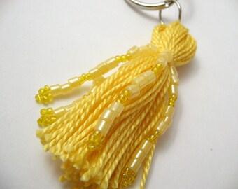 Yellow Beaded Tassel Keyring