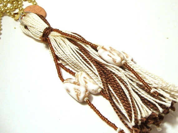 Home Decor Cream and Brown Beaded Tassel