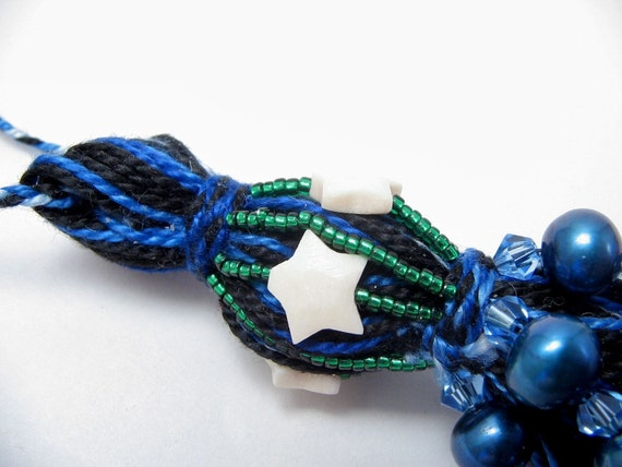 Stars and Blue Pearl Beaded Tassel: Art Wall Hanging