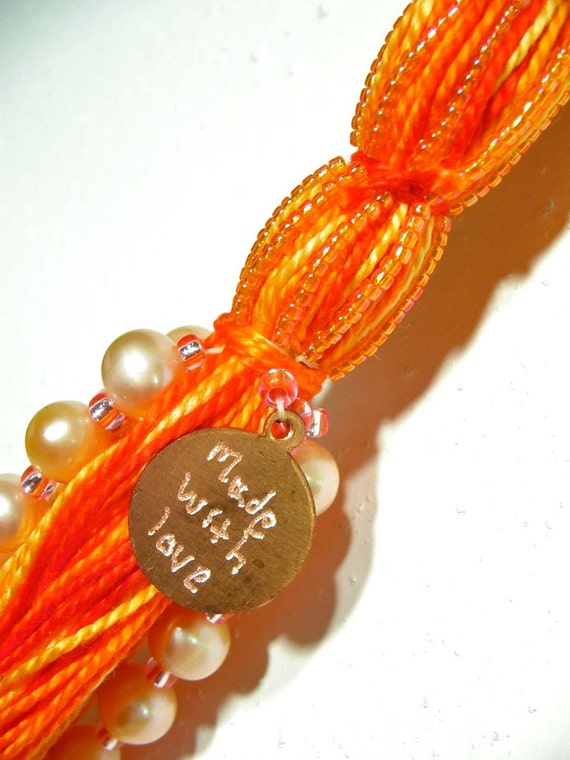 Pearl and Wire Beaded Tassel in Orange