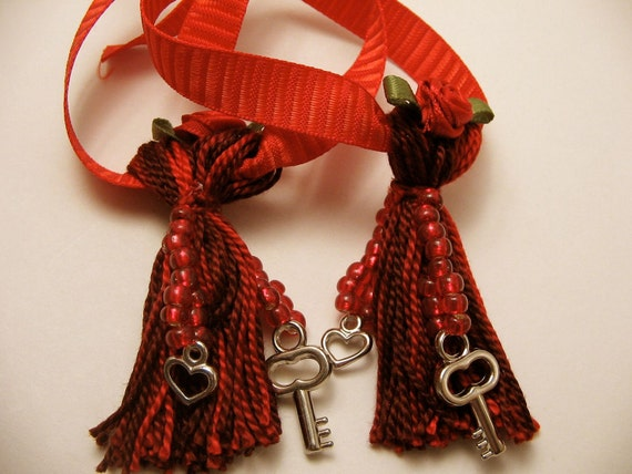 Matching Red Beaded Love Tassels with Keys and Hearts