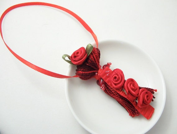 Red Ribbon Rose Beaded Tassel