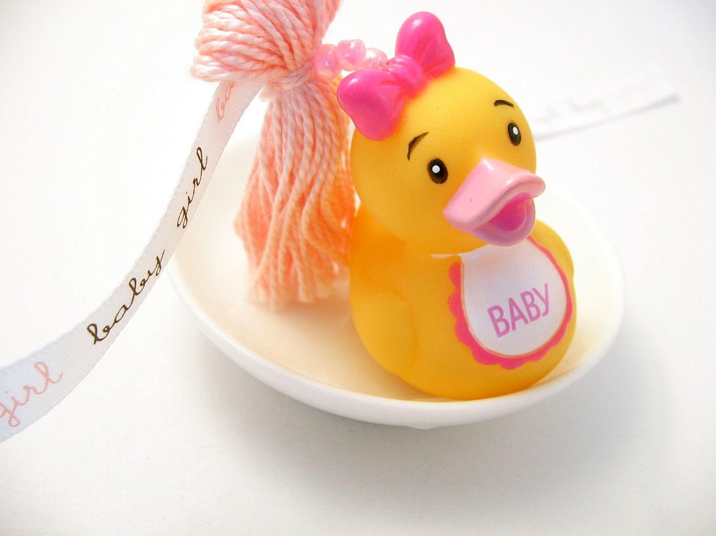 Baby Girl Baby Shower Beaded Tassel With Girl Rubber Duckie