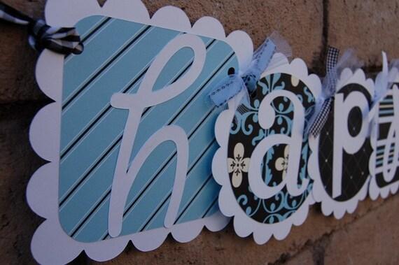 light blue and black happy birthday banner