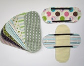 Set of 20 Reusable Cloth Menstrual Panty Liner AND 2 Wings in cotton print - Short