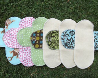 Mystery Pack set of 6 Cloth Mentrual Pantyliners with Attached Wings