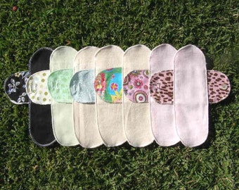 Mystery Pack set of 6 Cloth Mentrual Pantyliners with Attached Wings - LONG