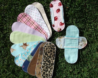 20 Flannel Cloth Menstrual Pads Pantyliners w / 2 Detached Wings - LONG