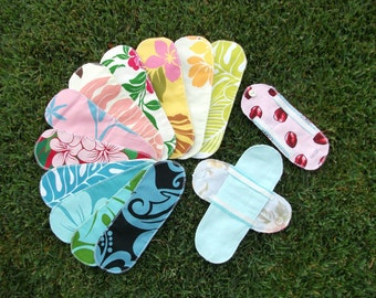 10 Aloha Print Cloth Menstrual Pads Pantyliners w / 2 Detached Wings - LONG