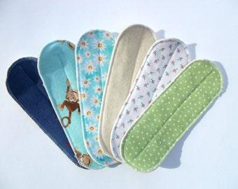 "Set of 6 Medium Flow Reusable Cloth Menstrual Wingless Pads 8"" Long"