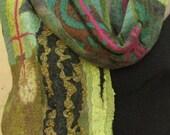 Nuno felted scarf. blue green