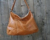 Tan leather tote bag, handmade italian leather bag with shoe embroidery detail READY TO SHIP