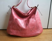 RESERVED for Jacki SALE PInk large leather tote bag, handmade italian leather bag with lace bag ring Ready to ship