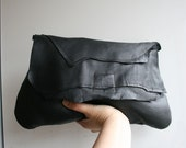 black Leather bag, handmade black leather clutch bag soft italian leather purse READY TO SHIP