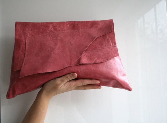 Leather clutch bag, handmade pink leather bag soft italian leather Free Shipping LAST TWO