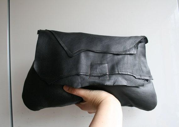 black Leather bag, handmade black leather clutch bag soft italian leather purse READY TO SHIP
