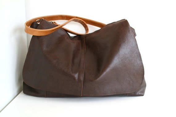 Leather bag, brown leather messenger bag, recycled cross body bag, leather laptop bag, travel bag,