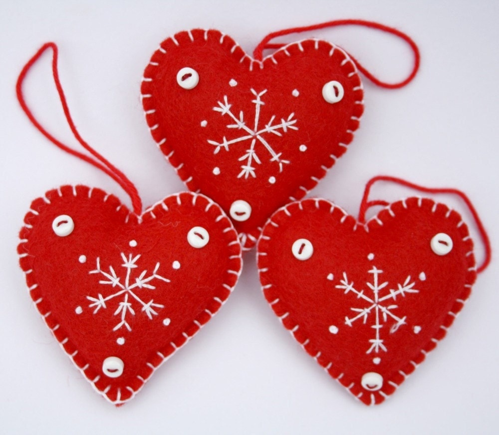 Felt Christmas Heart ornamentsHandmade red and by ...