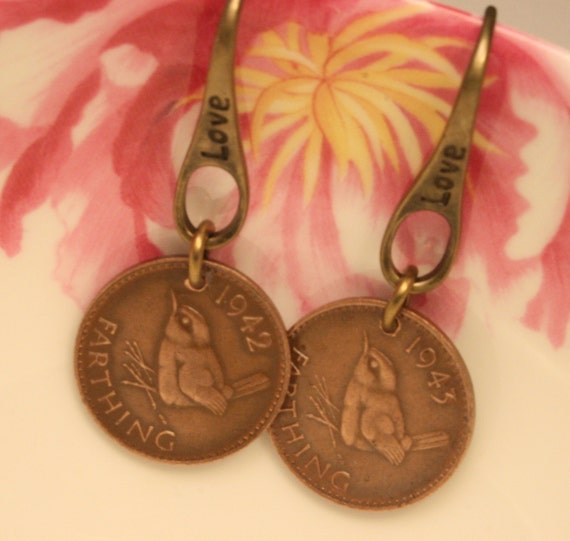 Bird earrings. Coins   Genuine farthings with wren design. English. Love earwires