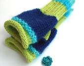 Fingerless gloves, green, blue mitts, fall, winter accessory, gift for her