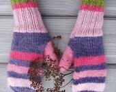 Pink women mittens, knitted winter mittens, cute gloves