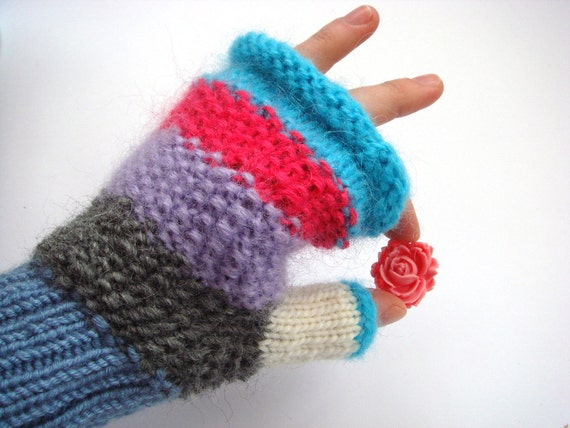 Colourful fingerless gloves, women accessory, christmas gift for her