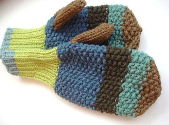Knitted Mens Mittens, blue winter mittens, warm mens gloves