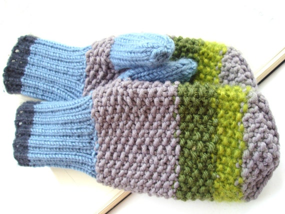 Mens mittens, green winter gloves for him, gift under 50
