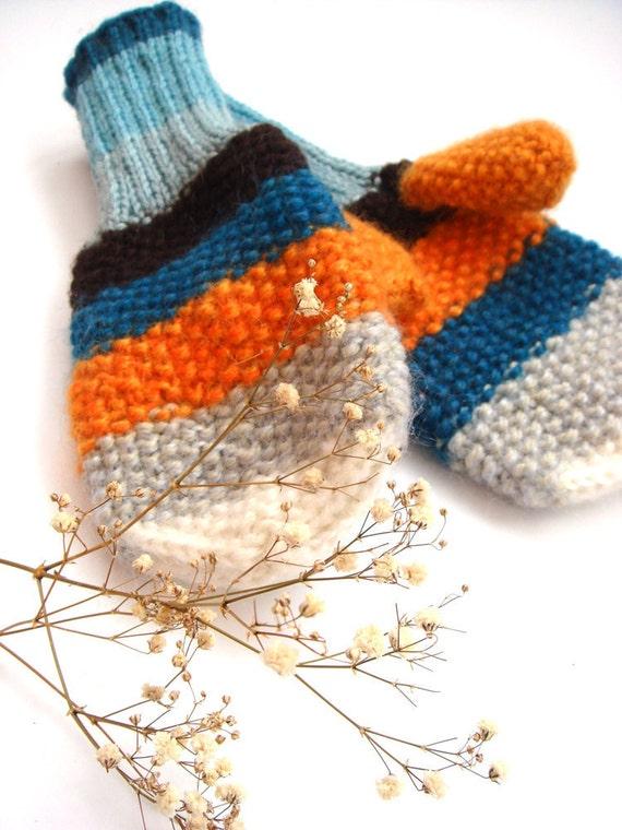 Winter mittens, warm knitted gloves ( blue, orange, beige, white, brown)