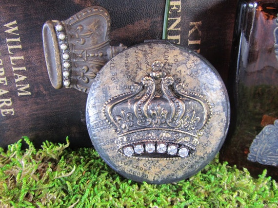 Crown Embellished Rustic Compact Pill Box