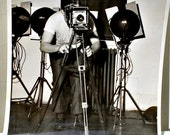 Vintage Pair of Black and White Photos of Man Behind Camera