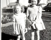 Vintage Black and White Photo of Sweet Little Sisters