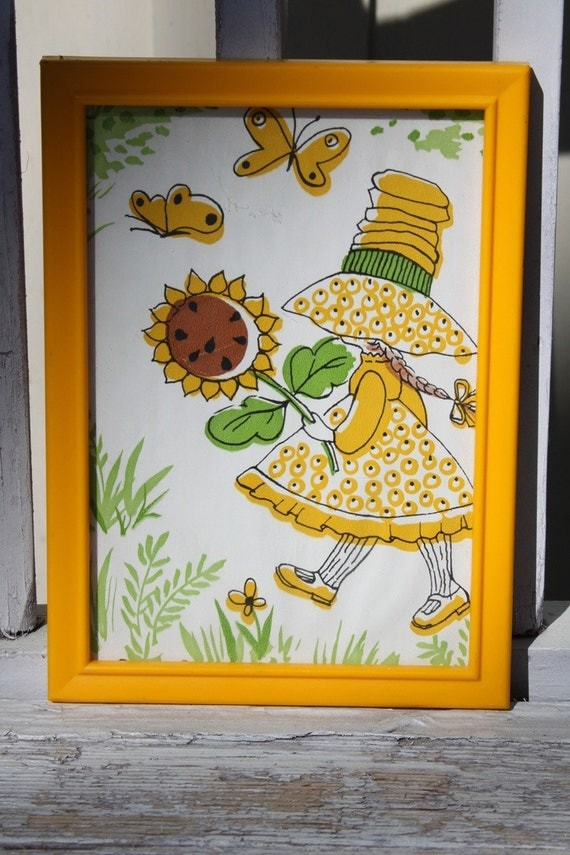 Framed Picture of Yellow Sunbonnet Girl