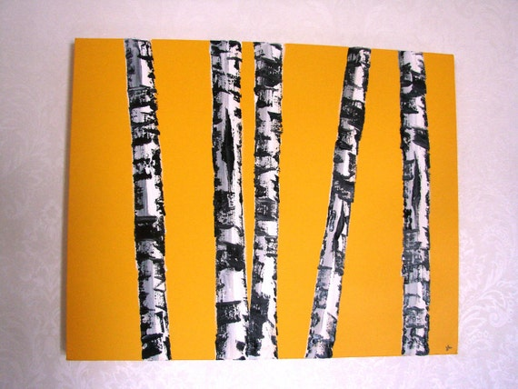 Original Birch Tree Oil Painting- Yellow Cab Birches