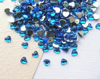 3mm CAPRI BLUE Heart Shaped Rhinestone Flatbacks - 500 pcs