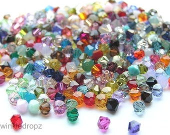 500 pcs Swarovski Bicone Crystal Beads Color Mix 5328/5301 4mm  Wholesale Destash
