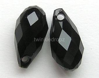 8 pcs JET Black Swarovski Crystal Briolette Beads 6010 11 x 5.5mm Wholesale Destash