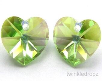 6 pcs PERIDOT AB Swarovski Crystal Heart Pendant Beads 6202 14mm Wholesale Destash