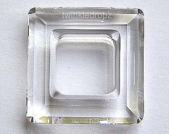 1 pc Clear CRYSTAL Swarovski 4439 20mm Faceted Square Pendant Bead Wholesale Destash