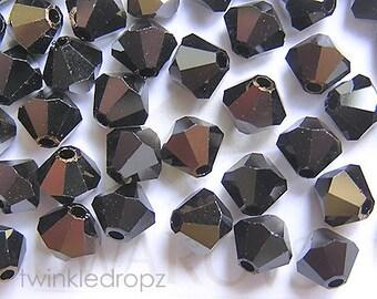 80 pcs JET NUT Swarovski Crystal 5301 4mm Bicone Beads Wholesale Destash