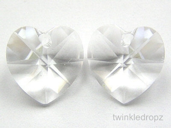 10 pcs Clear CRYSTAL Swarovski Heart Pendant Beads 6202 10mm Wholesale Destash