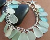 Sand Castle Charm Bracelet - Sea Glass Sterling Silver