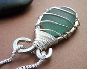 Caged Necklace Sterling Silver Wire Wrapped Sea Glass Pendant