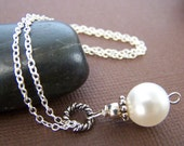 Shayla Pearl Necklace - Swarovski Glass Pearl Pendant on Sterling Silver