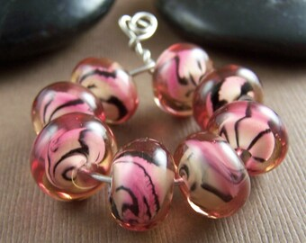 Destash Glass Pink Tiger Beads Lampwork Glass Beads Set 2