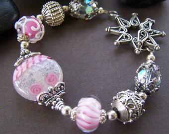 Malika Bracelet - Lampwork Glass Bead with Sterling Silver Bracelet