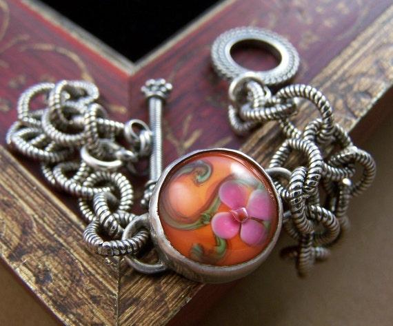 Kiana Bracelet - Lampwork Glass Bead and Sterling Chain Link