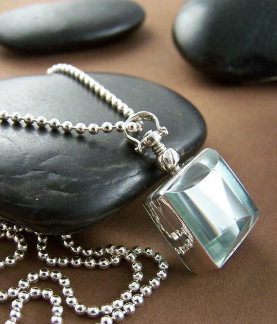 Reserved - Memento Locket Necklace - Sterling Silver Beveled Glass Locket Pendant